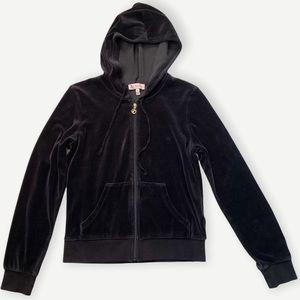 Juicy Couture Black Velour Hooded Sweatshirt Hoodie Jacket Medium Y2K Zip Front